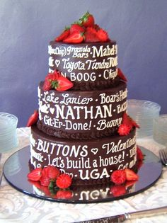 I love this idea for a grooms cake. Cover it in words that describe the person you love. And its chocolate which my man loves. But it may only be two tiers since the wedding cake has to be bigger.