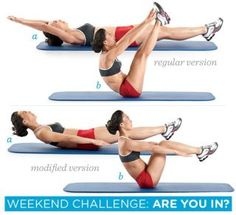 WH WEEKEND CHALLENGE: The V-Up! In the morning, afternoon, and night on Saturday and Sunday, do 3 sets of 8 reps.