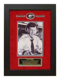 Georgia Bulldogs Larry Munson Autographed Custom Framed 8x10 Photo.  Great for any Man Cave or DAWGS house!  #ManCaveDecor #GeorgiaBulldogs #SportsMemorabilia #Autographs #Legends #LarryMunson #GiftsForHim