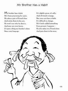 In honor of Jack Prelutsky's birthday tomorrow, I'm serving up a few sample poems from his latest collection, I've Lost My Hippopotamus (Greenwillow, which is brimming… Funny Poems For Kids, Silly Poems, Fun Poems, Teaching Poetry, Writing Poetry, Teaching Tips, Jack Prelutsky Poems, Brother Poems, School