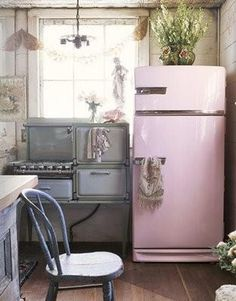 I have not idea where to get a pink fridge, but if I found one, I would put it in my bedroom if I had to!