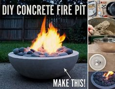 DIY Concrete Fire Pit Tutorial- make with extra large metal mixing bowl