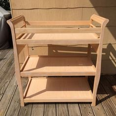 Not For Babies Anymore - Changing table upcycled to a bar cart. DIY chalk paint, handmade wine rack and wine glass holder. Iron pipe, elbow joints and floor fla…