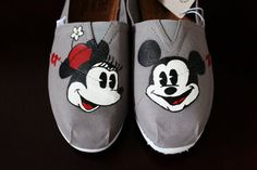Painted Toms Painted Bobs Mickey and Minnie by BrookeFranks! So need these for Disney!