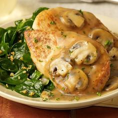 This is a great Gluten Free option: Chicken Marsala - Sautéed chicken breast with mushrooms and sweet wine sauce. Served with sautéed spinach