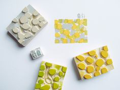 Janet Chan: Love how these little stamps work together . . . gray and yellow is a fun color combo.