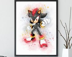 Sonic the Hedgehog Print Sonic Watercolor Nintendo Poster