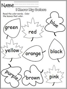 free color worksheet perfect for the fall students read the color words and color - Free Color Word Worksheets