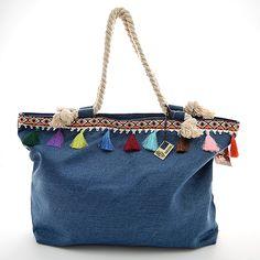Bolsa grande con pompones de colores  #WayanNatural