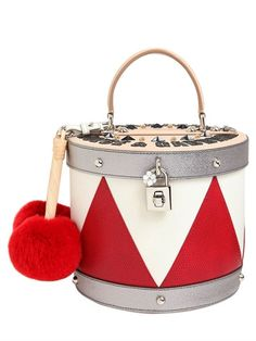 DOLCE & GABBANA - DRUM LEATHER BAG W/ LAPIN FUR DETAILS - WHITE/RED