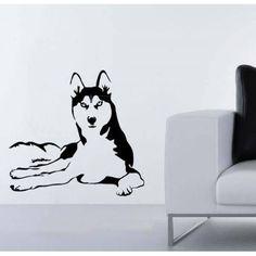 Husky Dog Sticker Stylish Fashion Zoo Wild Life Nature Wild Animals Decor Wall Decal Art Vinyl Sticker tr655