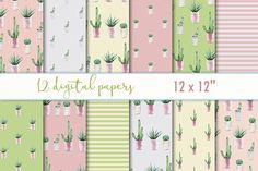 """Digital Paper """"Cactus"""" by MyLittleMeow on @creativemarket"""
