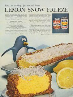 1960 Lemon Snow Freeze Pie Recipe Ad Dessert Photo