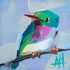 Tody Bird no.19 original oil painting by Angela by prattcreekart, $30.00 Bird Paintings, Small Paintings, Bird Artists, Bird Illustration, Bird Drawings, Altars, Learn To Paint, Acrylic Art, Hummingbirds