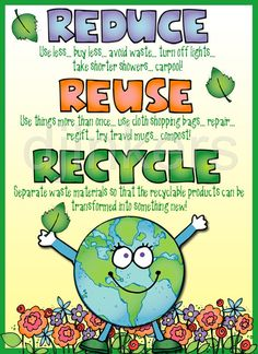 reduce, reuse, recycle poster, earth clip art
