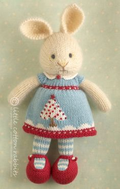 Lottie Price 39 Plus Postage Lottie Is Hand Knitted From One Strand Of Rowan Kidsilk Haze 70 Kid Mohair 30 Silk Interwoven With One Of Rowan Kid Classic 70 Wool 22 Mohair 8 Polyamide Her Clothes Are All 100 Cotton Yarn Knitted Bunnies, Knitted Animals, Knitted Dolls, Crochet Dolls, Crochet Cats, Crochet Birds, Knitted Baby, Crochet Food, Knitting For Kids
