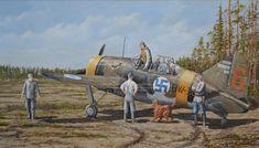 Brewster B-239 BW-366  Lentolaivue 24 Laivueen maskotti irlanninsetteri Peggy Brown tervehtii lennolta palaavaa ohjaajaa Joppe Karhusta Römpötissä kesällä 1942.  #Brewster  #TakeOff #WW2 #Jatkosota #FinnishAirForce