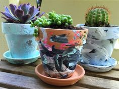 These super easy hand-painted pots, with succulents. | 24 DIY Father's Day Gifts He'll Actually Want