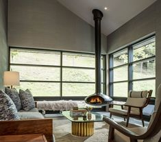 Living room with modern chimney