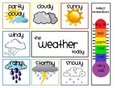 daily weather chart: Use this to record the day's weather and the outside temperature. Use a clothespin to mark the weather around the edges and on the thermometer. Teaching Weather, Weather Activities, Preschool Activities, Preschool Weather Chart, Weather Charts, Seasons Activities, Kindergarten Science, Preschool Classroom, Weather Kindergarten