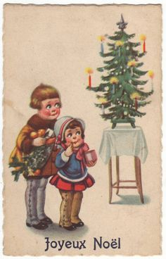 Big eyed children and a christmas tree Antique german by Isimaya, $2.95