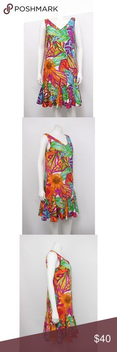 "Lauren Ralph Lauren Watercolor Drop Waist Dress Lauren Ralph Lauren Multi-Color Watercolor Print Drop Waist Dress.    Measurements (flat / un-stretched): Tagged Size: 6 Bust: 36"" Length (shoulder to hem): 36"" Lauren Ralph Lauren Dresses"