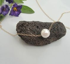 Single Pearl Necklace, Floating White Pearl Necklace, Bridal Freshwater Pearl Necklace, Freshwater P Single Pearl Necklace, Pearl Choker Necklace, Necklace Types, Necklace Chain, Necklaces, Bracelets, Earrings, Bridesmaid Jewelry, Wedding Jewelry