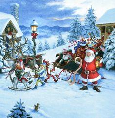 Santa's List by Ruth Sanderson ~ toys sleigh reindeer Christmas