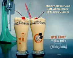 Mickey Mouse Club 55th Anniversary Soda Shop Glasses