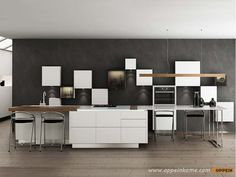 White Wooden Kitchen with Lacquer Finish OP16-L21