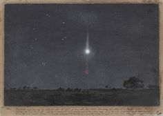 Ludwig Becker, Watercolor Of A Meteor, 1860