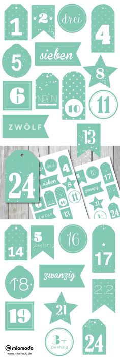 Adventskalenderzahlen zum Ausdrucken #weihnachten #adventskalender #freebie #printable www.miomodo.de/blog