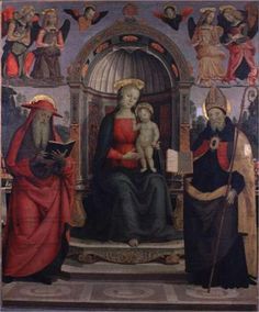 Virgin and St. Jerome and St.Augustine - Pietro Perugino