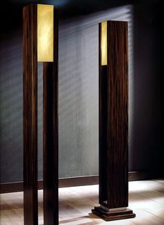 Grand scale Macassar ebony wood floor lamps or lighting torches. These large scales Macassar lamps are detailed in silver leaf or gold leaf with light shade in wonderful alabaster. These lamps can be wired for Worldwide use. #Floorlamp #Gold #Handmadelighting #Lamp #Lampshade #Led #Lighting #Lightingdesign #Modernlighting #Woodlamp #Woodworking