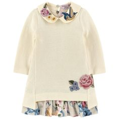 Cotton and angora knit Stretch jersey Super stretch Super soft velvet 2-piece To wear together or separately Peter Pan collar Long sleeves Flounced hem Buttons in the neck Pearly buttons Embroideries Embroidered flowers - $ 154.70