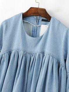 121a9a9a78 Shop Blue Bell Sleeve Ruffle Denim Doll Blouse online. SheIn offers Blue  Bell Sleeve Ruffle