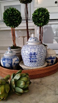 Kitchen Counter Styling using Blue & White Ginger Jars