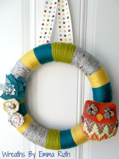 Modern Whimsical Yarn Wreath with Owl in by WreathsByEmmaRuth. , via Etsy.