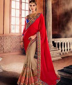 Buy Red Georgette Half and Half Saree With Blouse 72499 with blouse online at lowest price from vast collection of sarees at Indianclothstore.com.
