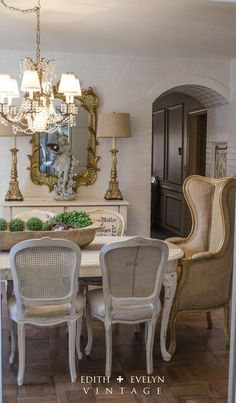 The Dining Room Renovation – Edith & Evelyn Vintage Interiors French Decor, French Country Decorating, Rustic French, Country French, 1970s House Renovation, Espace Design, French Country Dining Room, Dining Chairs, House Design