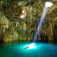 Photograph by @JohnStanmeyer  Sacred Cenote  Cenotes were once sacred places such as the majestic X'Keken Cenote in the town of Dzitnup just outside of Valladolid in the Yucatan of Mexico. Today they are places of rest and at times meditation.  I photographed this poetic moment for the Nat Geo story Sacred Water spending three days in this amazing underground cave. You can find this image and the entire story in the April 2010 issue of the magazine.  Pleased to announce my latest Visual…