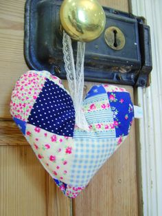'Country house' fabric hanging heart