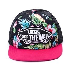 Shop for Vans G Beach Girl Trucker Hat, Black Pink, at Journeys Shoes. Top off your look with the new G Beach Girl Trucker Hat from Vans! The G Beach Girl Hat sports a Hawaiian floral printed front with Off the Wall logo patch, breathable mesh back, and adjustable snap-back closure. Coming to a store near you in March; Only available at Journeys!
