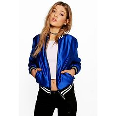 Boohoo Sarah Premium Satin Bomber Jacket ($60) ❤ liked on Polyvore featuring outerwear, jackets, blue, satin bomber jacket, bomber jacket, duster coat, blue satin jacket and blouson jacket