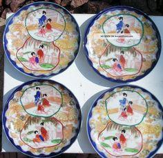 Antique Japanese Plates   Vtg/antique Japanese Geisha Girl Hand Painted Porcelain Saucer Plates ...
