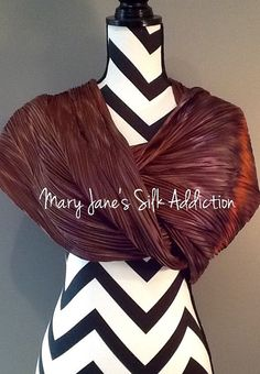 Product information:  Designer - Mary Jane Davidson Material- 100 % natural 8mm Habotai silk Color - any color choice  Size - 22x90 slight shrinkage