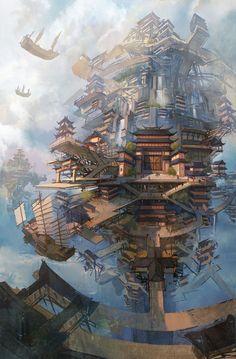 Contentimus:Fantasy art on Fantasy City, Fantasy Places, Fantasy World, Dark Fantasy, Fantasy Concept Art, Fantasy Artwork, Fantasy Art Landscapes, Landscape Art, Arte Steampunk