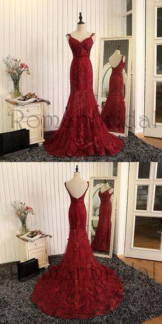 2018 Newest Sexy Elegant Prom Dresses, wine red evening dress,mermaid evening gowns,burgundy prom dress,lace prom dress,High Quality Graduation Dresses, Prom Dresses, PD0472
