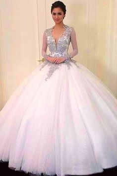 2017 white organza V-neck lace applique long ball gown dress,wedding dresses · Cute dress · Online Store Powered by Storenvy