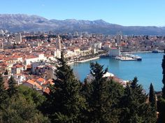 The view of beautiful Split, Croatia from a Marjan Park viewpoint.